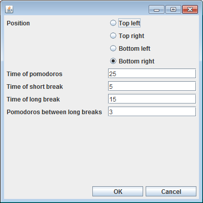 Changing the settings